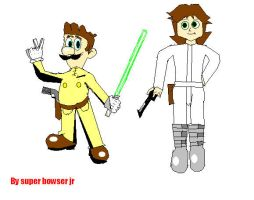 Weegee Skywalker and Princess Daisy by superbowserjr11