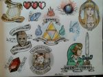 Legend of Zelda tattoo flash by ShunAndromeda