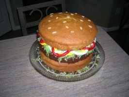 Hamburger cake by jadedlady
