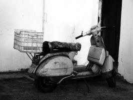Old scooter Black White by Chriisii