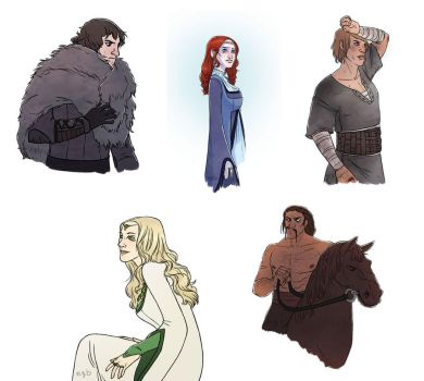 Game of Thrones character sketches by eve-bolt