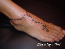 Rosary cross around ankle by ravenwarlock