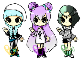 (Somewhat)Pastel Goth Adopts by PastelCode