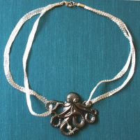 Octopus Necklace with Pearl by GraceStudios