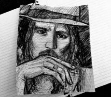 Johnny Depp Scribble by SpiderRainboots