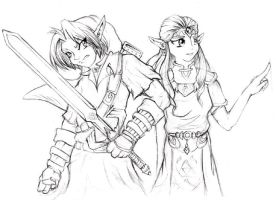 Link and Zelda - rough sketch by zankara