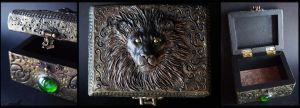 :.OOAK Lion trinket box.: by XPantherArtX