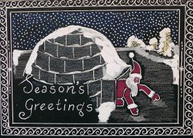 Holiday Card Project Santa Igloo by Lou-in-Canada