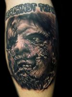 Leather Face Tattoo by hatefulss