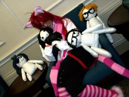 Grell and his plushies by siriusrain