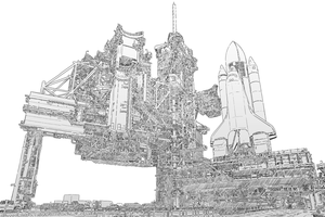 Nasa Shuttle Launch Line art by zones-productions