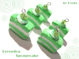 Greentea Spongecake Charms by Hyo-pon
