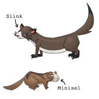 Fakemon - Minisel and Slink by Sliv-Pie