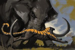 Tiger vs Elephant by AlexAlexandrov