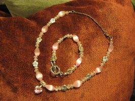 Pink Heart Necklace and Bracelet Set 1 by Windthin