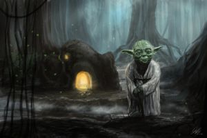 Yoda On Dagobah by Entar0178