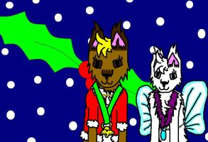 X-mas wolves: Fizz and daisy by fluffylovey