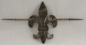 Renaissance Fleur de Lis Leather Hair Barrette by ArmouredWolf907