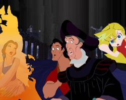 Frollo and Gaston see Belle in the Hellfire! by AndrewSS23