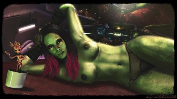 Guardians of the galaxy - sexy Gamora wallpaper 2 by ethaclane