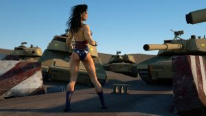Wonder Woman faces the tanks by DahriAlGhul