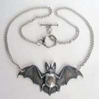 Large Silver Bat Necklace 2 by Horribell-Originals