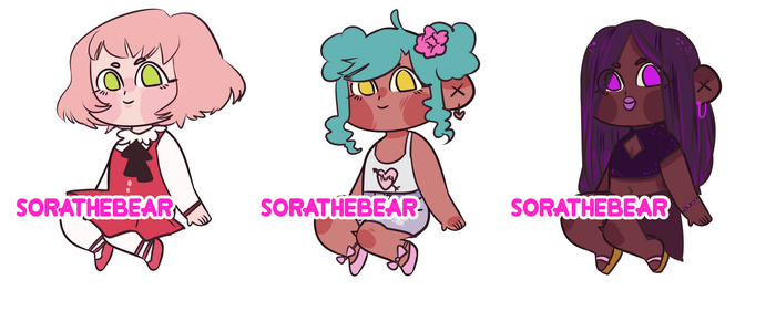 Sitting Chibi Adopts 2 - 2/3 Auction OPEN by SoraTheBear