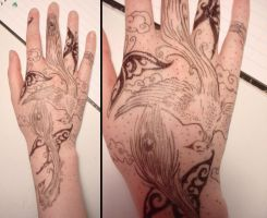Hand Art-Birds and Butterflies by sadwonderland