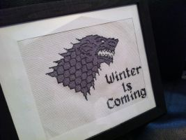 Winter is Coming cross stitch by Eisoptrophobic