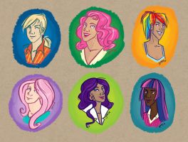Mane Six Humanized Portraits by SapphireKat