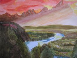 Mountain Sunset -watercolor- by QTroubadour