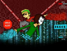 AntiVirus!PewDie vs Virus!Cry!! + SPEEDPAINT by 13Crazygir