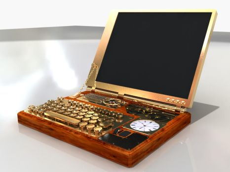 Steampunk Laptop by Nabidee