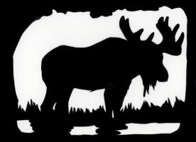 Moose Papercut Card by calzephyr