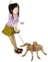 a girl with her pet spider by randerzoid