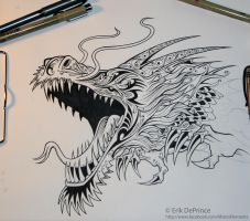 Tattoo dragon in progress. by ErikDePrince