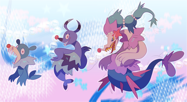 Popplio family by Pand-ASS