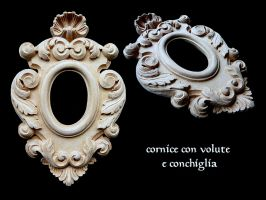 FRAME WITH SPIRALS AND SHELL by MassoGeppetto