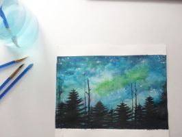 Night Sky Landscape by annamariiart