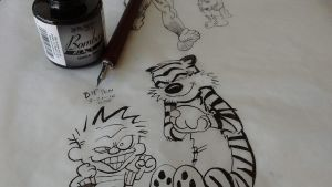 Calvin and Hobbes using Nib Pen by CartoonistWill