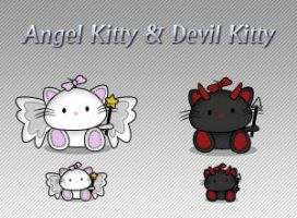 Angel Kitty and Devil Kitty by King-Billy