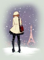 Paris and the snow by Katikut