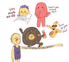 DHMIS doodles by Peachdalooza