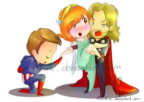COLLAB Thor, Captain America and MissK by KimiK-A
