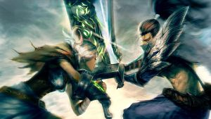 Riven vs. yasuo (Not my drawing) by Alistiar