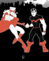 Scarlet Witch and Wonder Man by jackcrowder