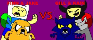 Finn and Jake vs. Gill and Kain by ian2x4