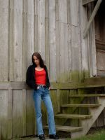 Standing by the barn stairs by JensStockCollection