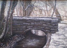 Bridge in Winter by littlemisskirby