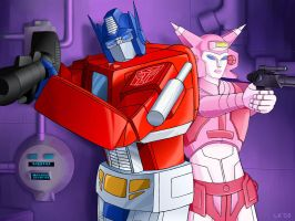 Optimus Prime and Elita One by Oreobot